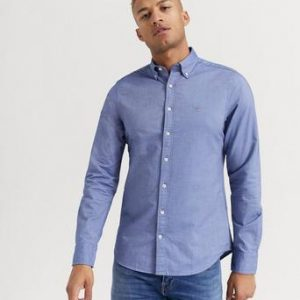 Gant SKJORTA The Oxford Shirt Slim BD Blå