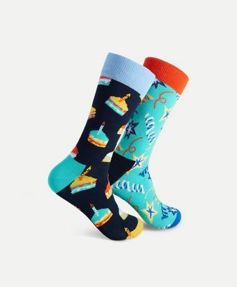 Happy Socks 2-Pack Strumpor Birthday Cake Socks Gift Set Multi
