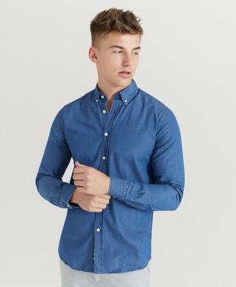 Morris Skjorta Julian Button Down Denim Shirt Blå
