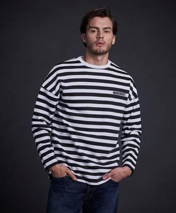 Modernist Sweatshirt Striped Sweater Svart