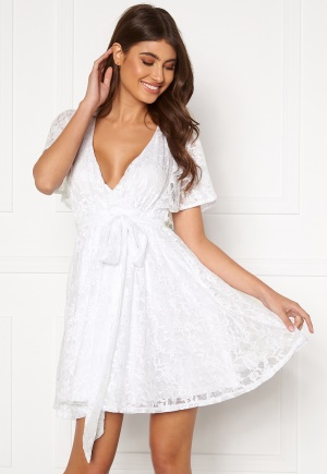 Goddiva Flutter Lace Skater Dress White XXS (UK6)