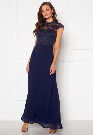 Goddiva Open Back Lace Maxi Dress Navy XS (UK8)