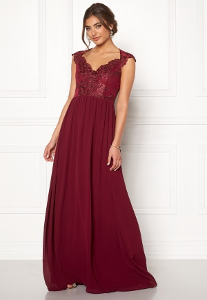 Moments New York Blossom Chiffon Gown Wine-red 36
