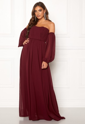 Moments New York Liliane Pleated Gown Wine-red 36