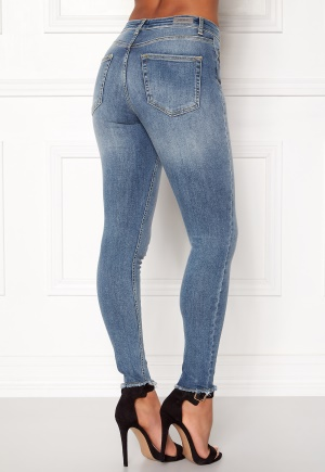 ONLY Blush Mid Raw Jeans Light Blue Denim L/30