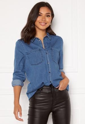 VERO MODA Mila LS Long Shirt Medium Blue Denim XL
