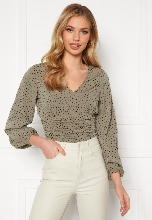 BUBBLEROOM Adelia ruched blouse Dusty green / Black / Dotted 40