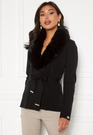 Chiara Forthi Arina heavy knit wrap jacket Black 42