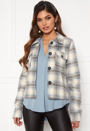 ONLY Lou Short Check Jacket Pumice Stone XL