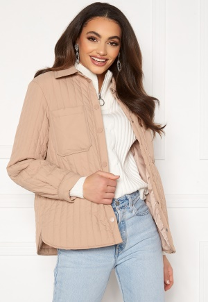 Pieces Gretzel Quilted Overshirt Warm Taupe S