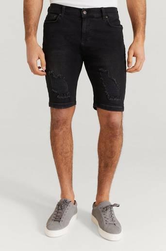 SIKSILK Jeansshorts Distressed Denim Shorts Svart