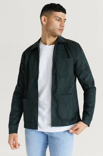 William Baxter Overshirt Fake Suede Zip Overshirt Grön