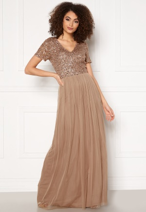 AngelEye Short Sleeve Sequin Dress Taupe XS (UK8)