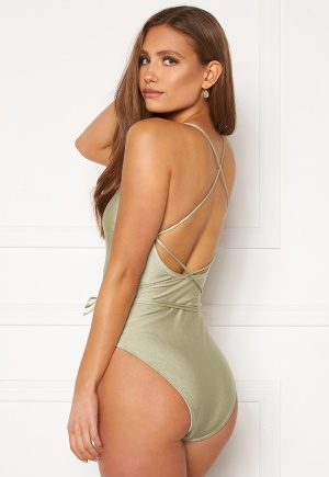 BUBBLEROOM Melia high thigh strap swimsuit Dusty green XS