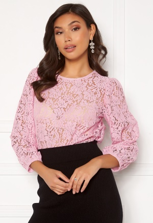 Pieces Gertie 3/4 Lace Top Winsome Orchid S