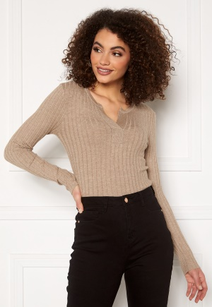 Pieces Gilaya Half Placket Knit Warm Taupe XS