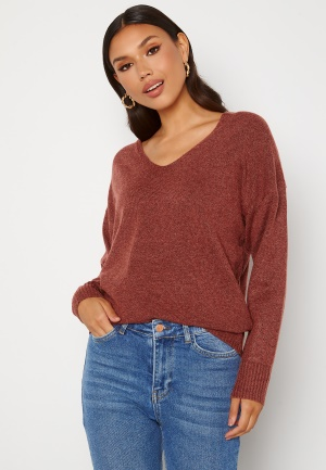 ONLY Rica Life L/S V-Neck Pullover Knit Red Ochre S