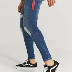 SIKSILK Jeans Distressed Flight Denims Blå